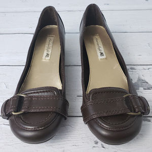 American Eagle Brown Buckle Flats